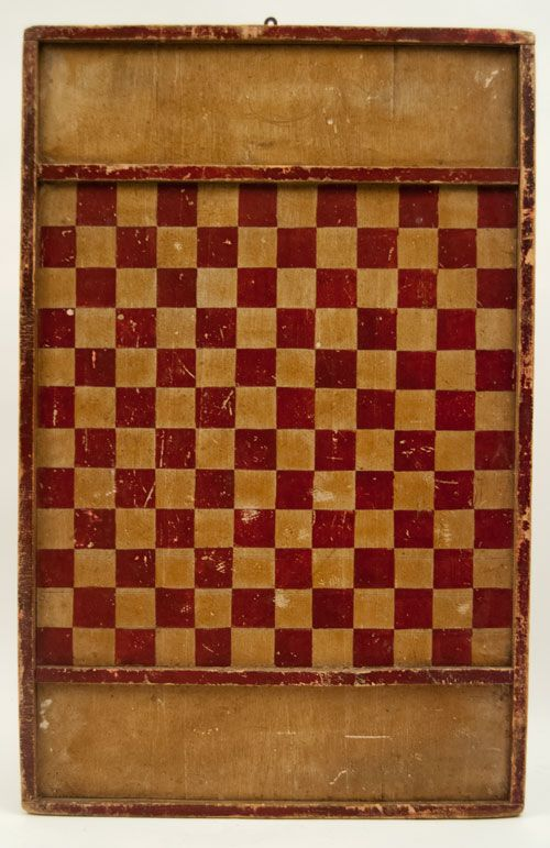 Great Early Antique Gameboard for sale in original red and white paint! Double Sided! checkers and parcheesi with wonderful wear and use! Fresh from our new england antique trip!