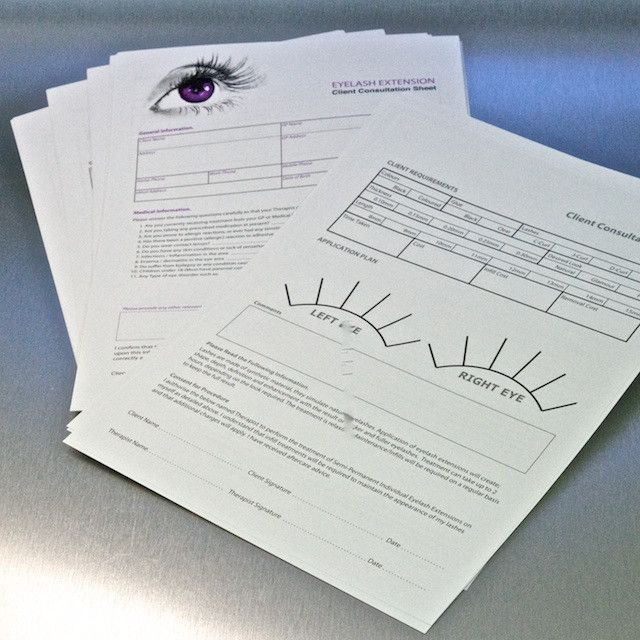 Eyelash Extension Client Consultation Sheets