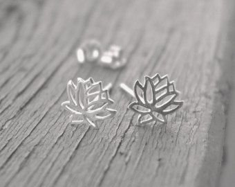 Lotus flower earrings, lotus stud earrings, sterling silver jewelry, little lotus, tiny lotus, yoga earrings, birthday gift, jewelry lotus
