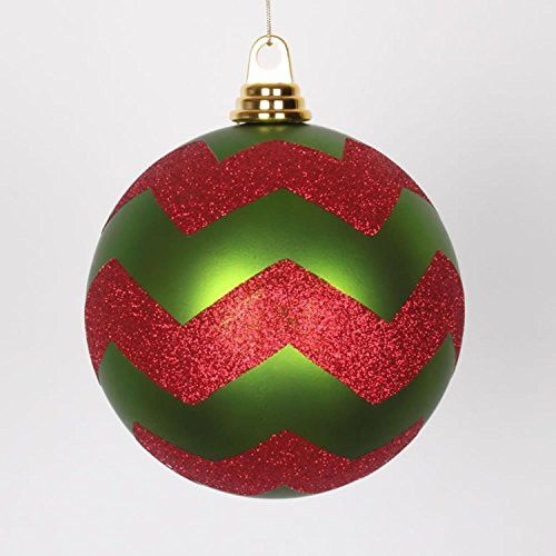 Felices Pascuas Collection Lime Green Matte with Red Glitter Chevron Commercial Size Christmas Ball Ornament 6 inch (150mm)