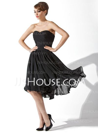 Little Black Dresses - $95.99 - A-Line/Princess Sweetheart Knee-Length Chiffon Little Black Dresses With Ruffle (043004243) http://jjshouse.com/A-Line-Princess-Sweetheart-Knee-Length-Chiffon-Little-Black-Dresses-With-Ruffle-043004243-g4243
