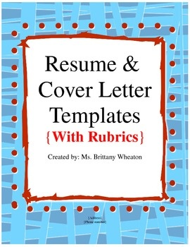 resume and cover letter templates with rubrics - What Does A Cover Letter For A Resume Look Like