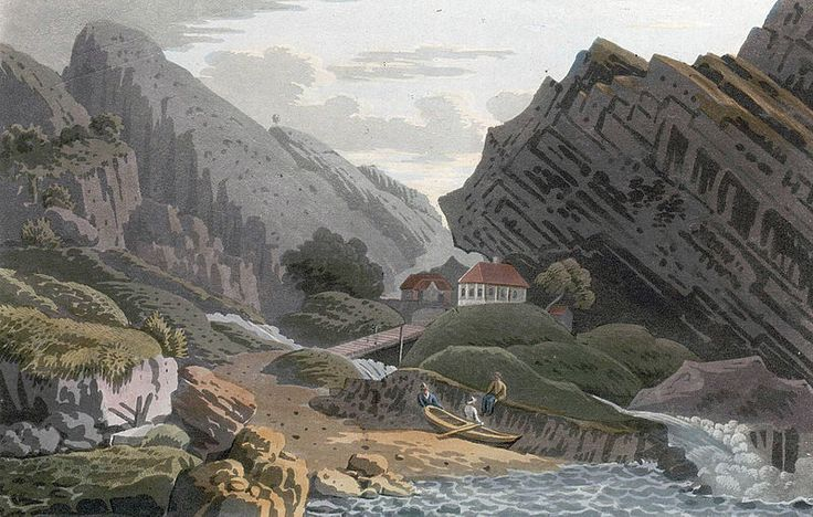 """Svinesund Ferry, Swedish side (JW Edy plate 80). English: """"Svinesund Ferry, Swedish side"""" Norsk bokmål: «Svinesunds færge, Svenske Siden» Drawing by John William Edy (1760-1820) from his journey along the coast of Norway during the summer of 1800. Published in Boydell's picturesque scenery of Norway in 1820."""