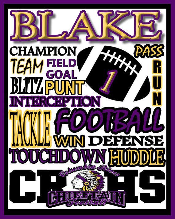 Football Print - custom football poster, football team gift - football poster - school football sign - high school, college, midget youth