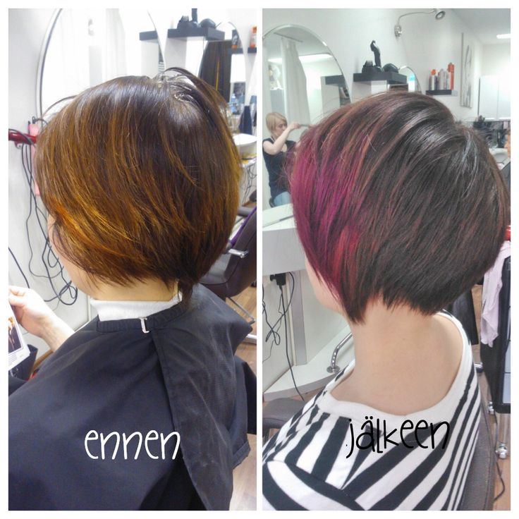Before and after. Trendy women short haircut with cool toned brown colour with purple twist in front! Hair by Emmi/Parturi-kampaamo Salon Maria Seinäjoki