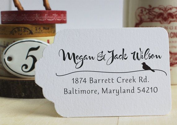 Address Stamp Wood Handle  - Custom Rubber Stamp - Wedding Calligraphy Stamp Bird