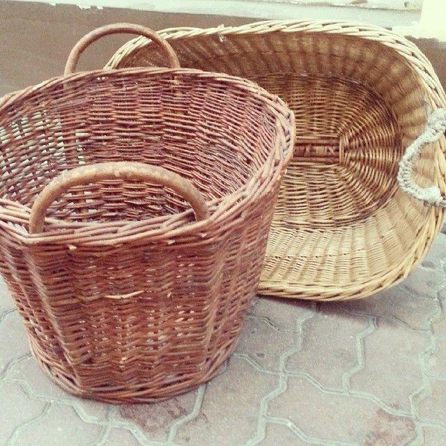 More big vintage baskets #vintage #interiors #industrial #design #loft #retro #vintageshop #sklepvintage #poznan #brutfurniture #junkstyledesign #basket #kosz #korb #wiklina #wnętrza