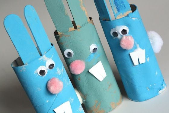 toilet roll Easter bunnies - happy hooligans - easter crafts for kids
