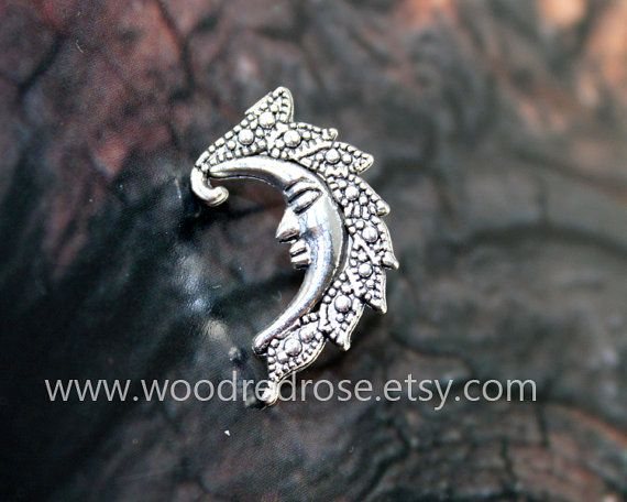 Silver moon Tragus Earring Jewelrycrescent moon by woodredrose