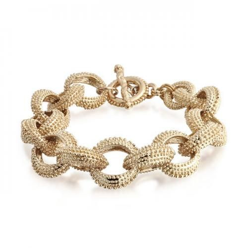 Gold Plated Beaded Oval Link Toggle Statement Bracelet 8in