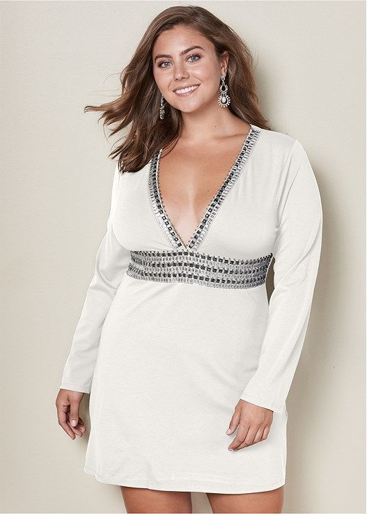 6d74ca9e27119 Venus Women s Plus Size Deep V Trim Cocktail Dress - White