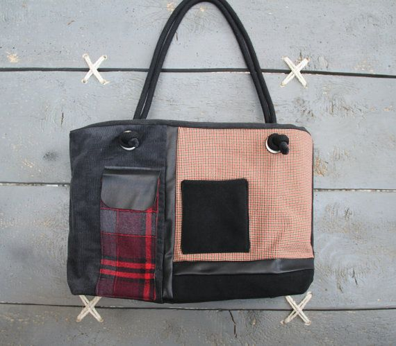 Black and red tote bag with corduroy and checkered fabrics, stylish bag, mix of…