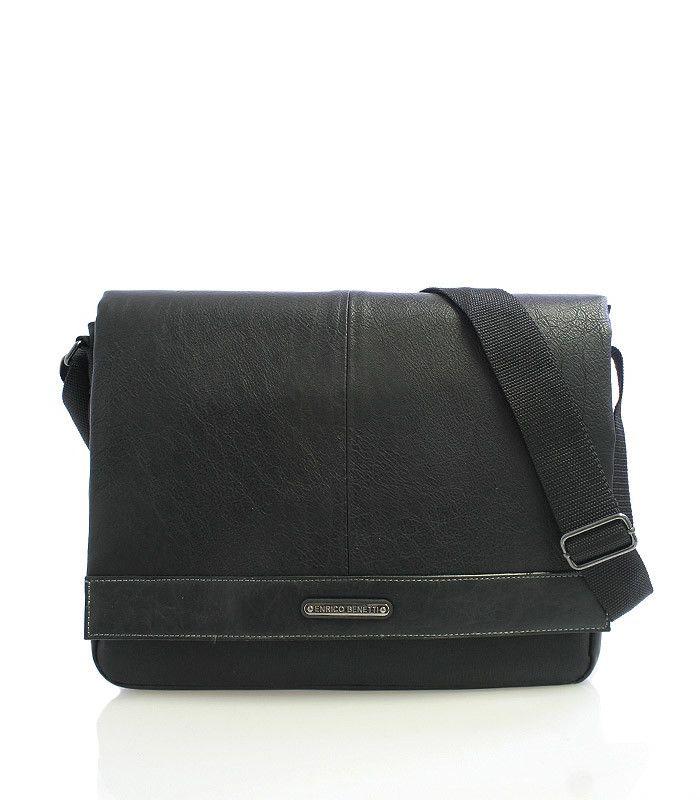 """#Enrico Benetti Černá univerzální taška přes rameno Enrico Benetti. Taška má polstrovanou přihrádku na tablet o maximálních rozměrech 28 x 20 cm. Do hlavní kapsy se vleze 13"""" notebook. Na přední straně je kapsa na suchý zip, v ní jsou další otevřené kapsy. Klopa je na suchý zip. Součástí tašky je nastavitelný popruh."""
