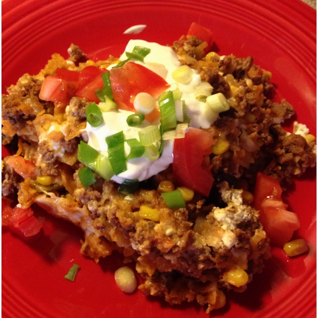 ... . Top with diced tomatoes, green onions & dollop of sour cream