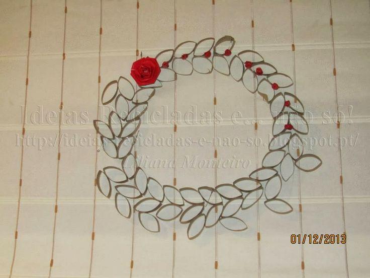 Coroa/Grinalda/Guirlanda feita com Rolos de Papel. Decoração de Natal. Reciclagem. Com Passo a Passo.