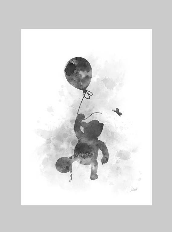 Nursery Disney Gift Wall Art Decor B /& W ART PRINT Winnie the Pooh Balloon