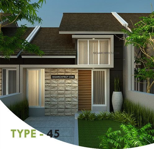 Desain Rumah Minimalis Type-45 Tropis, berada di kota Gresik, Jatim. Dikatakan perumahan, meskipun jumlah tidak banyak dari rencana kavling yang dibangun