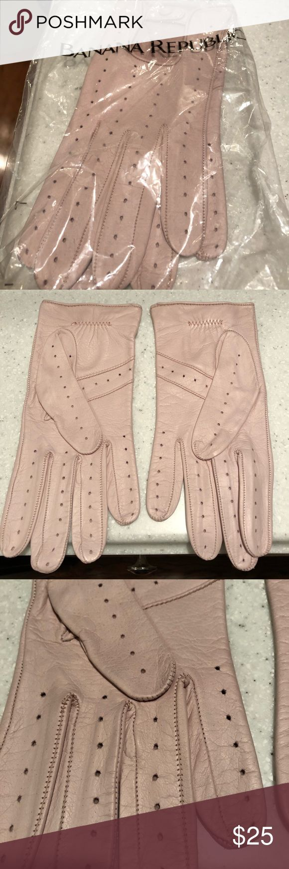NWT Banana Republic pink leather driving gloves NWT Banana Republic pink leather driving gloves. Size M. Looks white in the last photo but I think it was the lighting or the angle. They're definitely pink. Banana Republic Accessories Gloves & Mittens