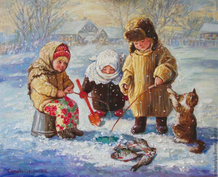Ловись рыбка, большая и маленькая! в интернет-магазине на Ярмарке Мастеров. Зима...Россия....Дети сделали во льду прорубь и ловят рыбку. Идет легкий снежок. Но, несмотря на мороз детям нравится это занятие. Картина может стать хорошим подарком, украсит любой интерьер.Может стать парой к картине ' Не мерзни…