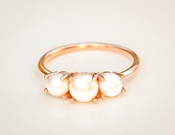 14k Rose Gold Perlen Ring Perle von milajewellerydesign auf Etsy