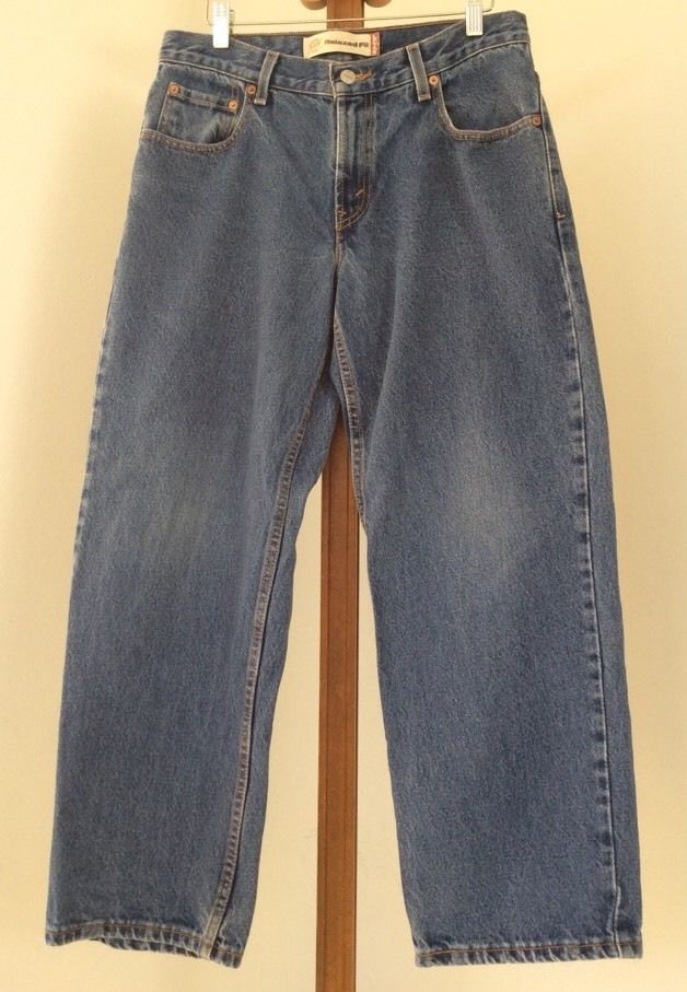 Levis 550 Mens 32x27 Jeans Relaxed Fit Husky Medium Wash Denim #Levis #Relaxed