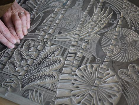 Angie Lewin working on her St Paul's linocut. Magnificent.