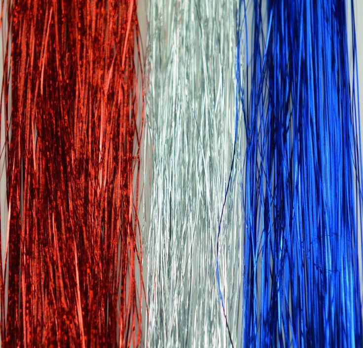 HAIR TINSEL Hair extensions, Patriotic Color 100 Strands Salon Grade SILK tinsel #HairTinsel