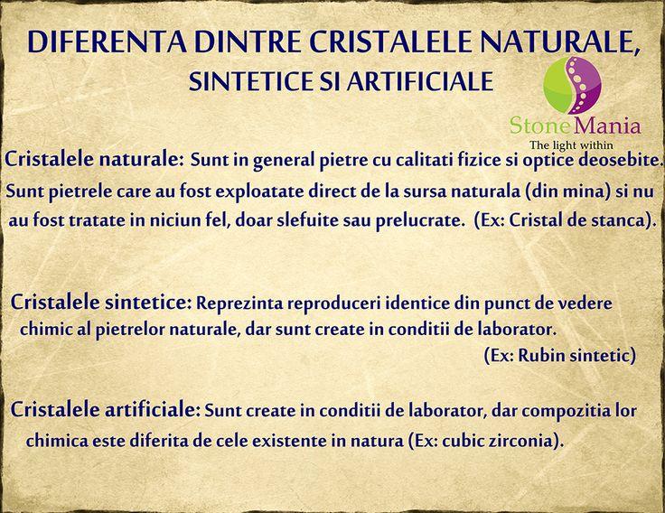 Diferenta dintre cristale naturale, sintetice si artificiale