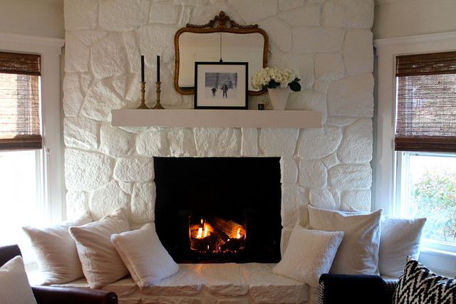 Painted Stone Fireplace.  Favorite white paint color:   Benjamin Moore, Cloud White