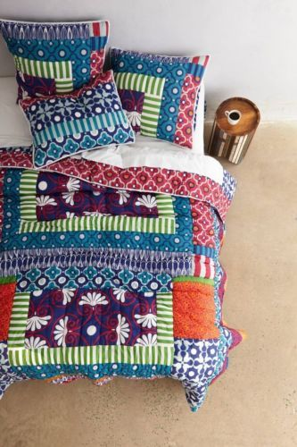ANTHROPOLOGIE-Lille-QUEEN-QUILT-Navy-Comforter-Hothouse-FREE-SHIPPING-NEW green orange navy blue red mint