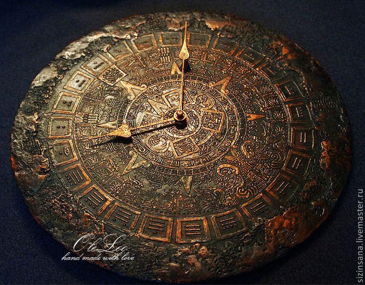 Купить Часы Майянское золото II - золотой, часы, календарь майя, oleloo, на заказ
