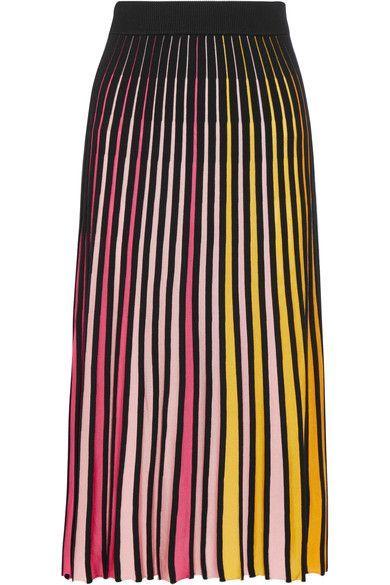 KENZO - Ribbed Cotton-blend Midi Skirt - Pink