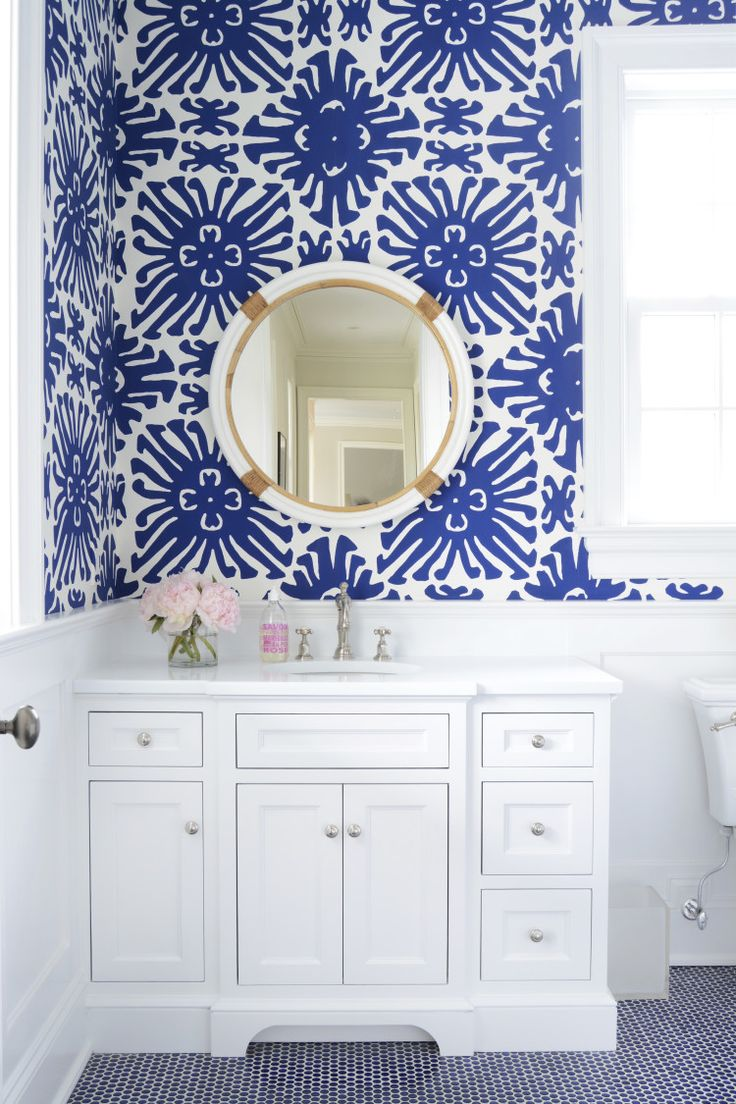 277 best wallpapered bathroom images on pinterest bathroom ideas tour the zhush s connecticut home on domaine