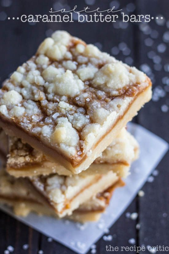 Salted Caramel Butter Bars at http://therecipecritic.com Delicious butter shortbread crust with a gooey salted caramel center! These are the best!