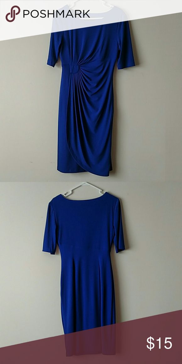 Blue Dress Hits just below the knees, perfect for work or a special occasion. Worn as a bridesmaid dress once. Beautiful royal blue color. Flatters an hourglass figure. Connected Dresses Midi