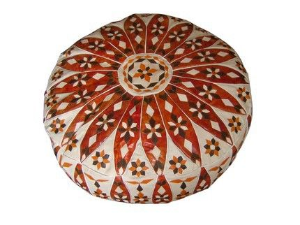 Moroccan leather Pouf Ottoman Footstool – Buy this handmade, floral designs and…