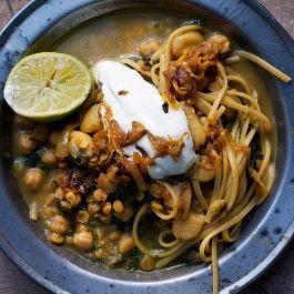 Legume (noodle) soup. Basically var beans, yellow sp pea, linguini spice dollop of sc lime. Ottolenghi