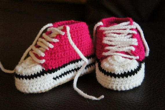 Free Crochet Pattern Newborn Converse : Cutest Baby Crochet Converse Shoes by IvkinKutak on Etsy ...