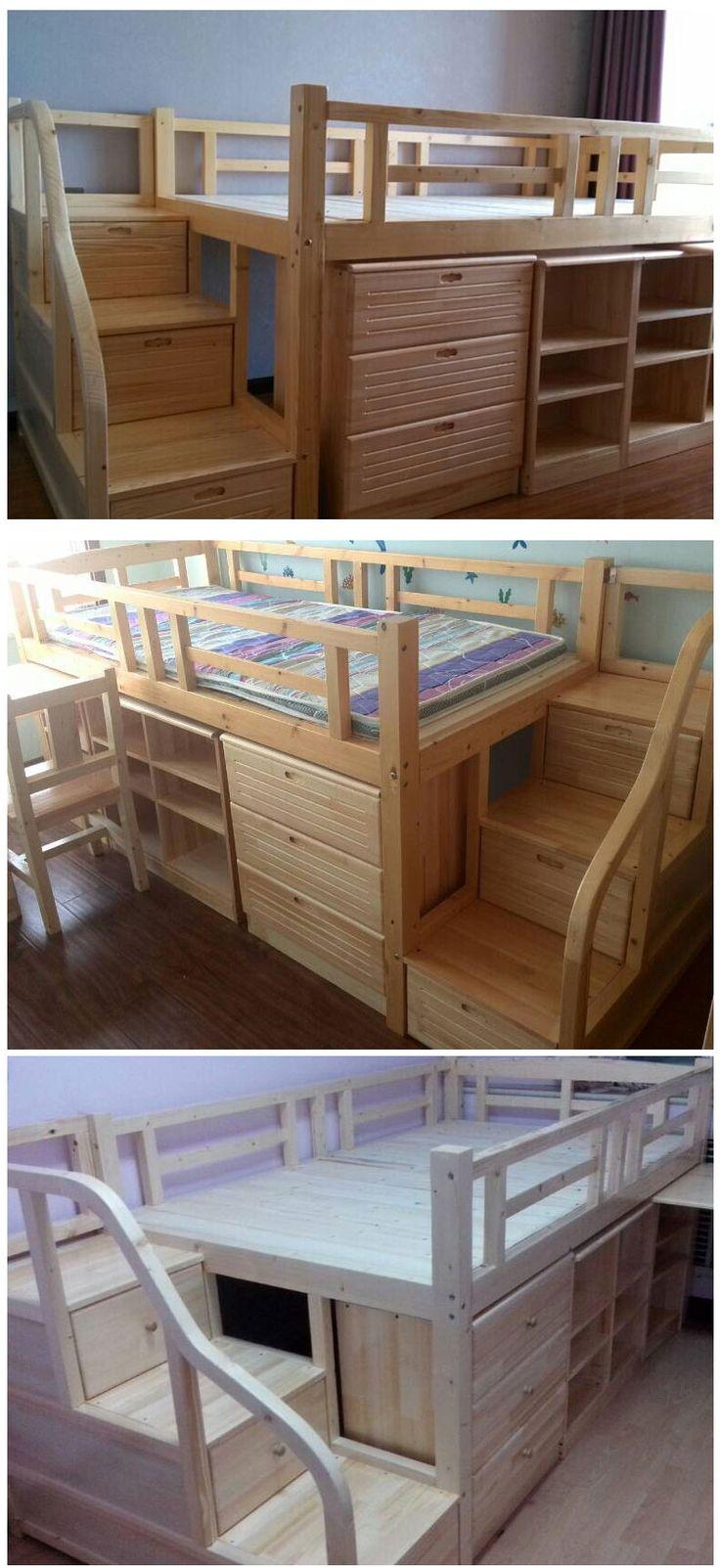 Каркас большой многофункциональной кровати из массива дерева