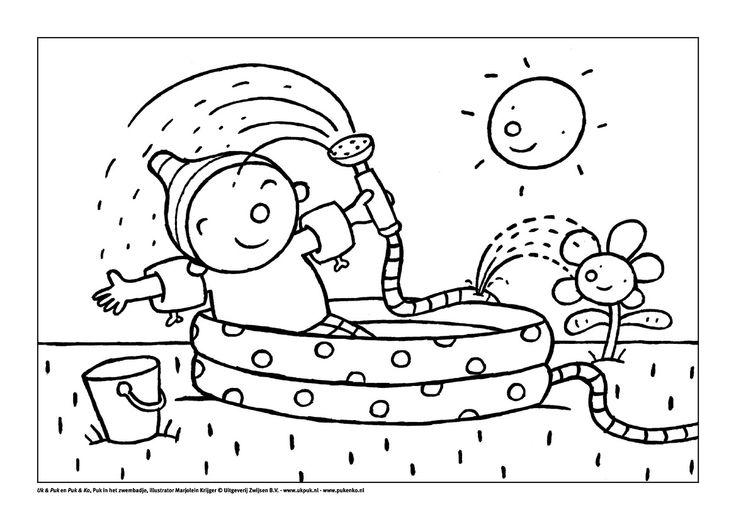 Puk Oef Wat Warm Kleurplaat Kleurplaat Puk In Het Zwembadje Thema Zomer Water