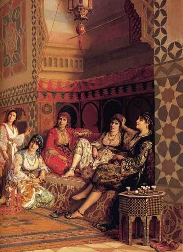 An Ottoman harem. Favorites for the harem were Circassian beauties from the Caucasus