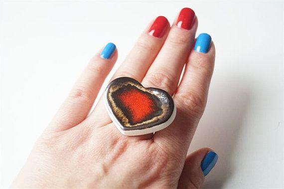Heart Ring Cocktail Ring Statement Ring Red Ring Ceramic by bemika