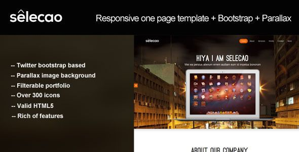 Selecao - bootstrap parallax one page template - ThemeForest Item for Sale