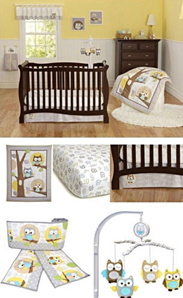 Yellow Gray OWL Neutral Baby Boy Girl Nursery 8pc Crib Bedding Bumpers & Mobile