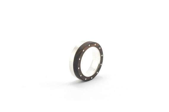 silver and ebony wood ring wood ring silver ring  solid