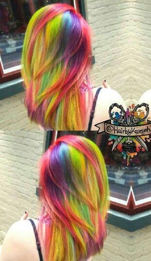 Rainbow neon dyed hair color