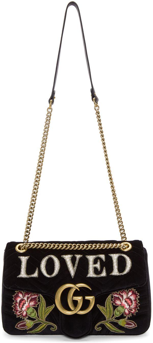 b039cdde6cb Gucci - Black Velvet Medium  Loved  GG Marmont 2.0 Bag