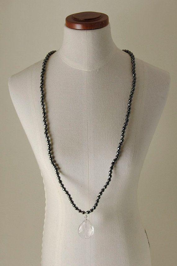 Quartz, Hematite and 925% Silver necklace