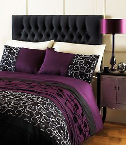 Purple Plum Duvet Cover Floral Black Bed Quilt Cover King Size Bedding Set