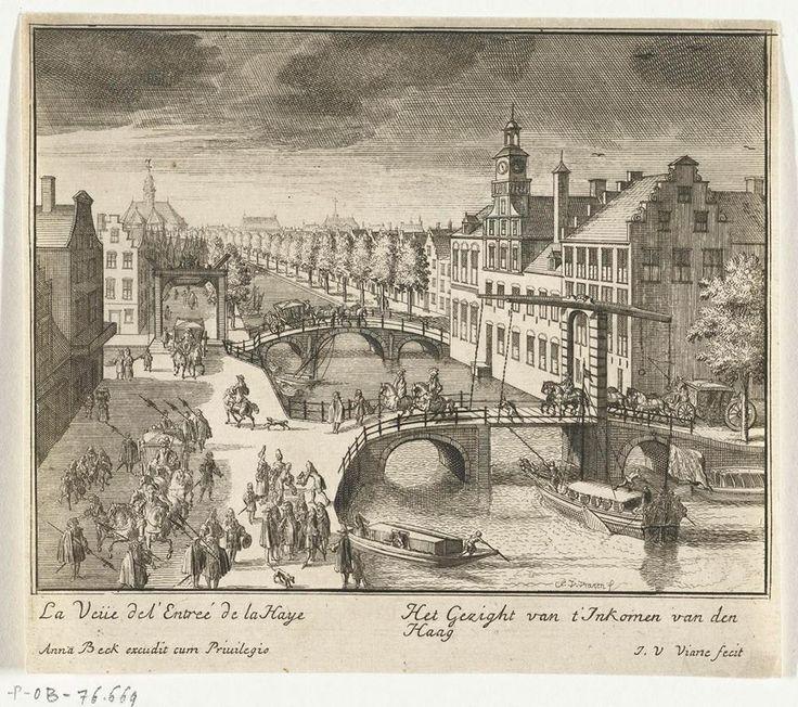 """""""Gezicht bij het binnenkomen van Den Haag,"""" Jan van Vianen, 1697. Ter orientatie: de gracht in het midden is het Spui, links een stukje Bierkade en de Singelgracht, rechts het Huis van de Zweedse Gezant (afgebroken).  In de verte, links van het midden de Nieuwe Kerk en in het midden de Hofkapel (afgebroken)."""